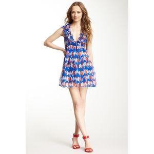 Gracia Blue Bird Print Silk Ruffle Neck Dress